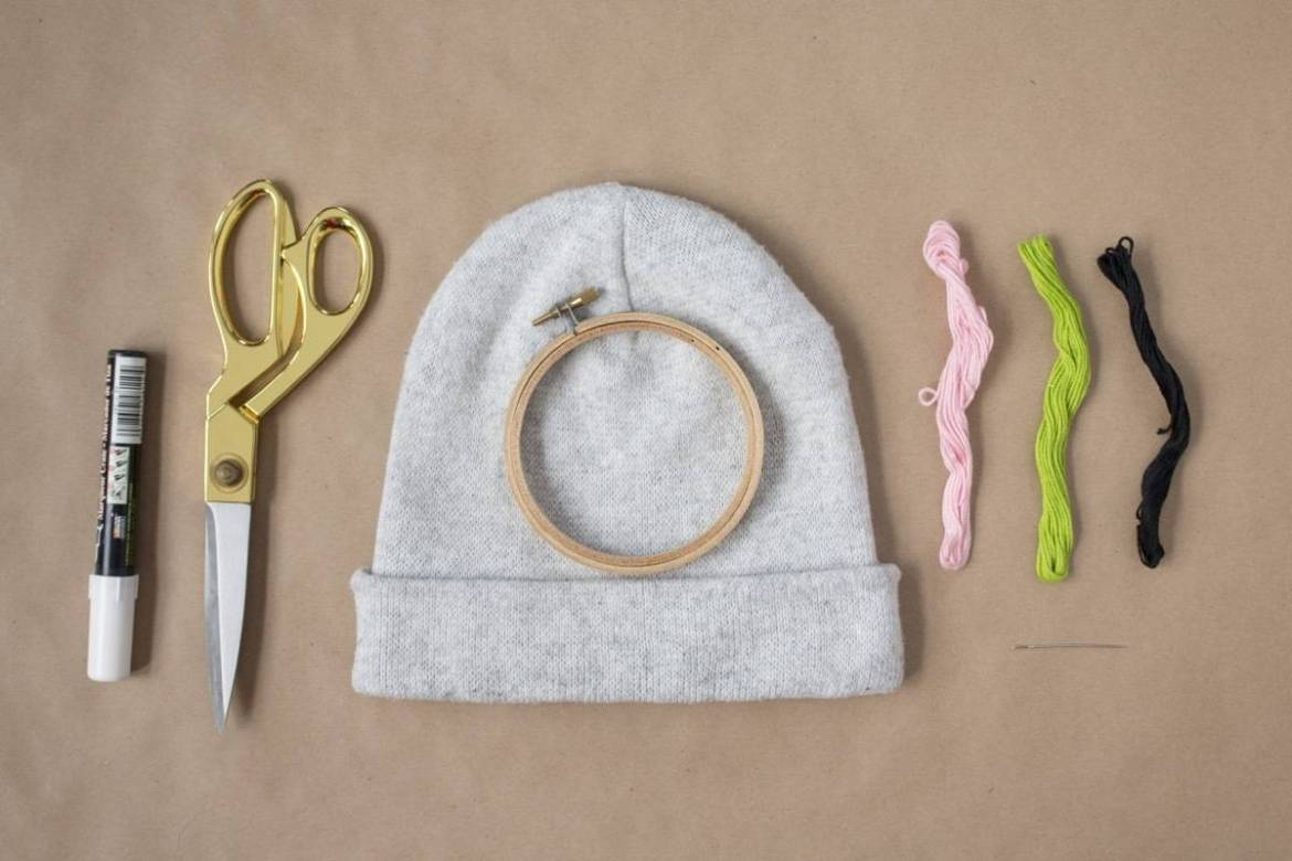 Materials needed for an embroidered beanie