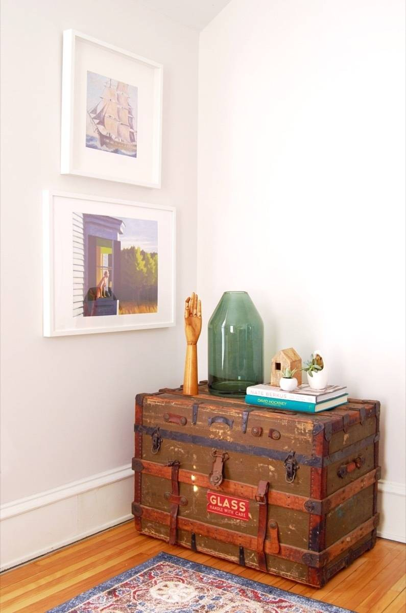 Cozy Family Room Makeover - Trunk Storage