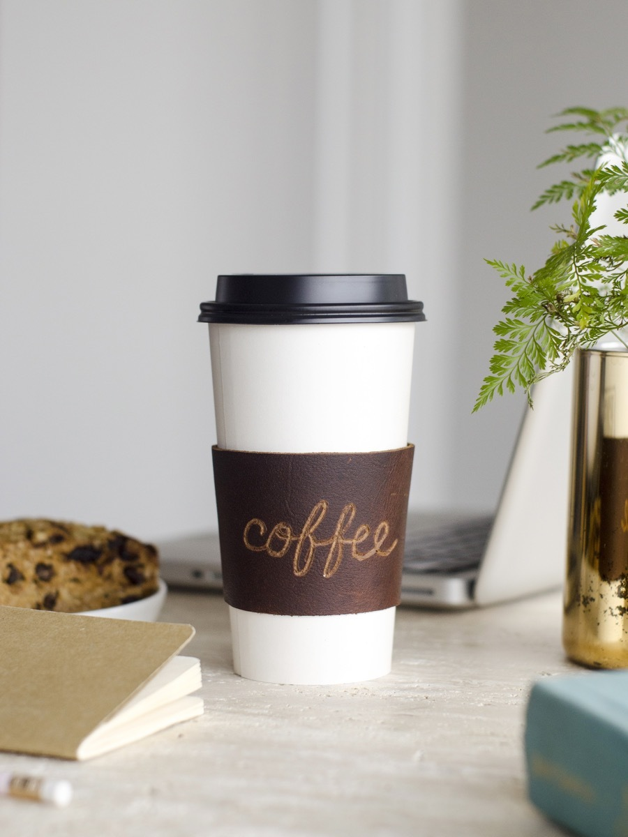 DIY Personalized Leather Coffee Sleeve