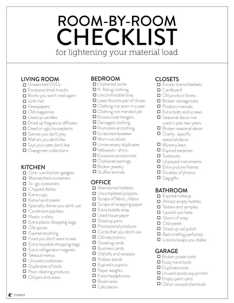 Room-by-Room Checklist for downsizing the amount of stuff in your house!