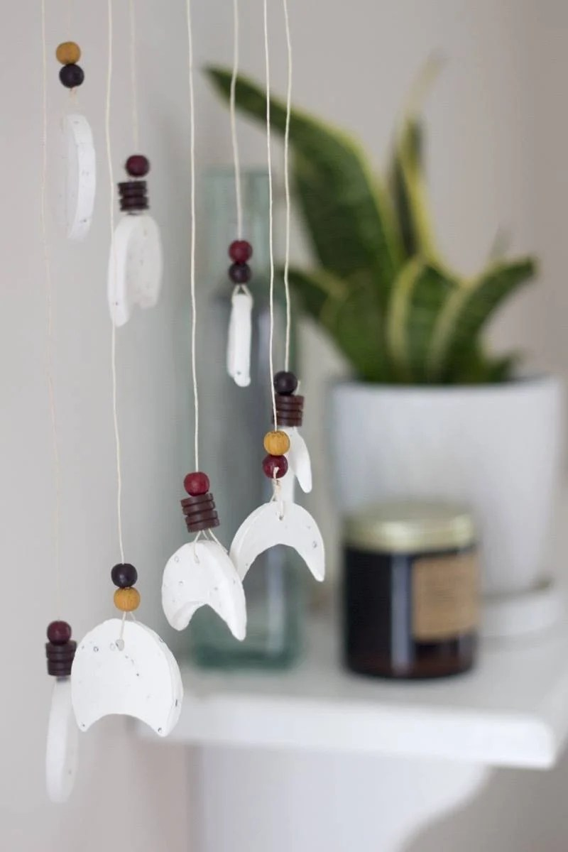 DIY clay lunar wind chime