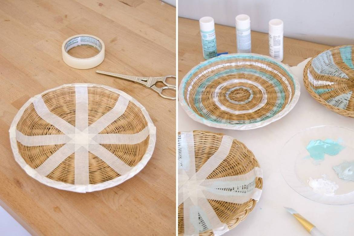 Turn baskets into inexpensive wall art with paint
