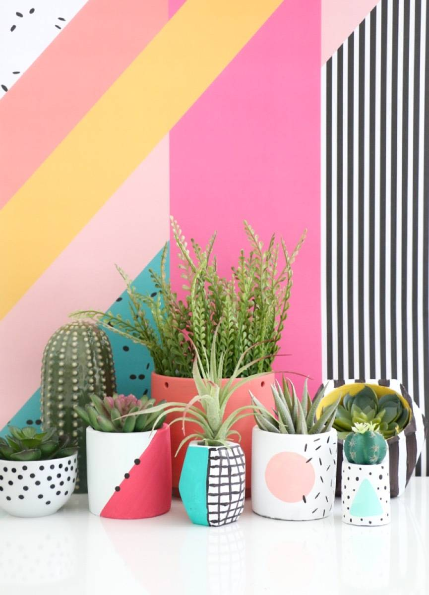DIY Memphis-style planters by A Kailo Chic Life