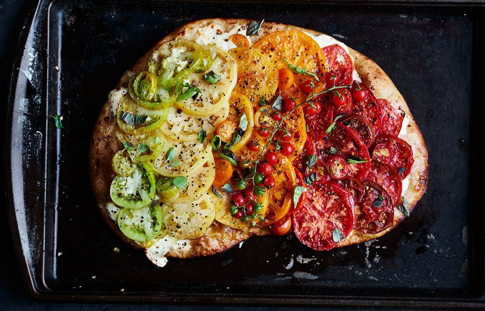 ombre grilled heirloom tomato pizza