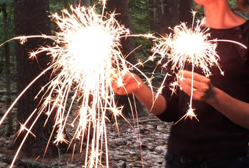 Sparklers in hands