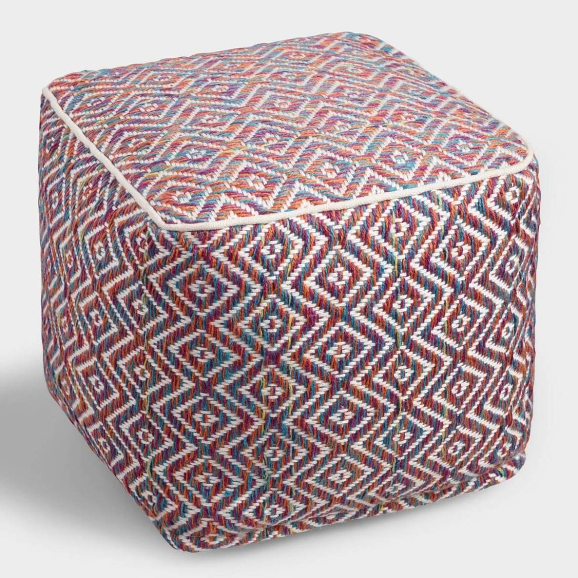 Multicolor knit pouf from Cost Plus World Market