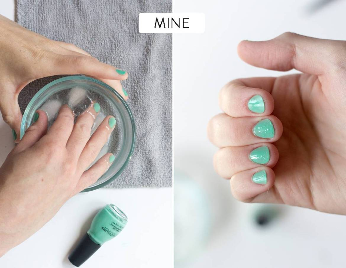 Soaking nails in ice water to dry polish more quickly