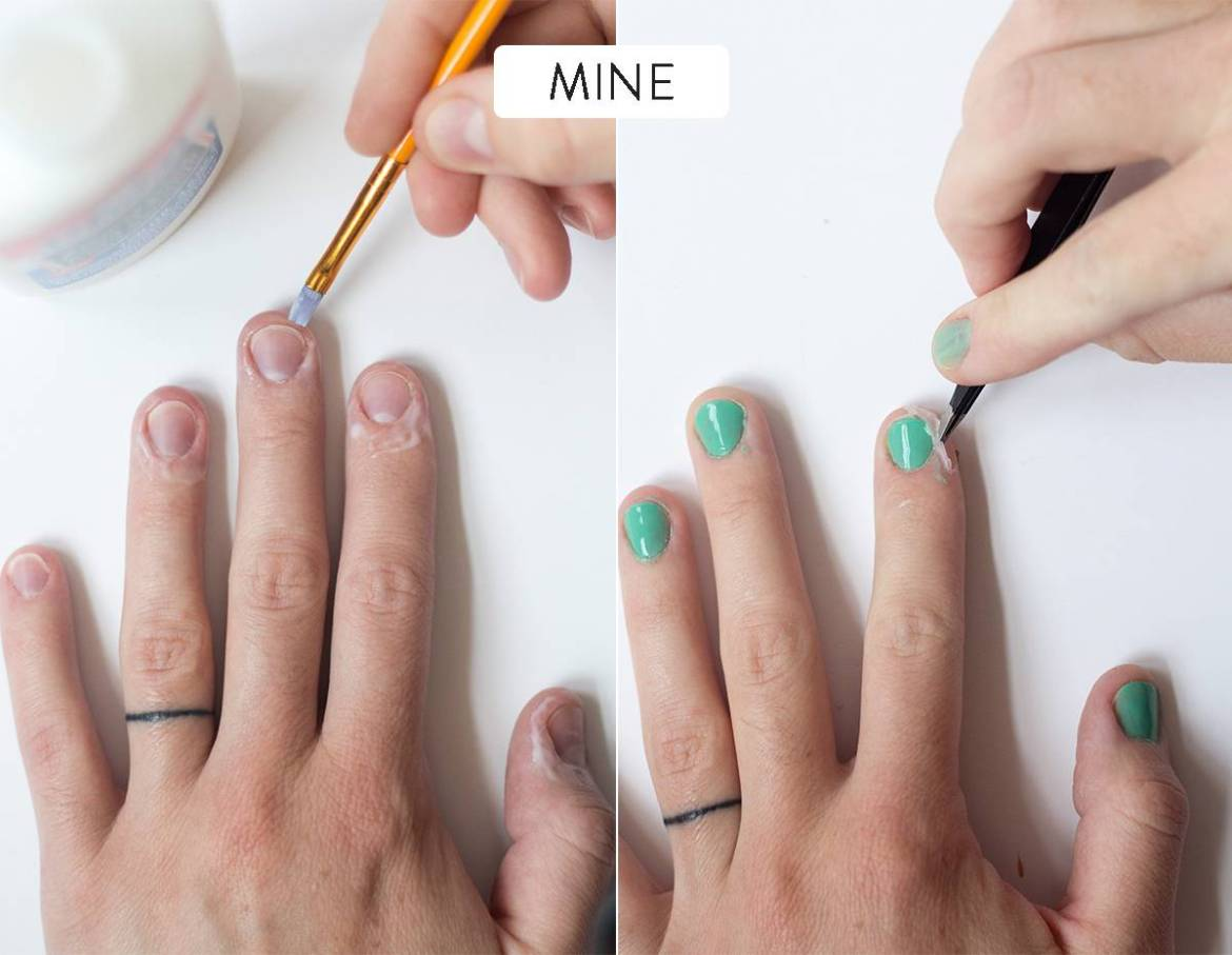 Using white glue to paint inside the lines of your fingernails