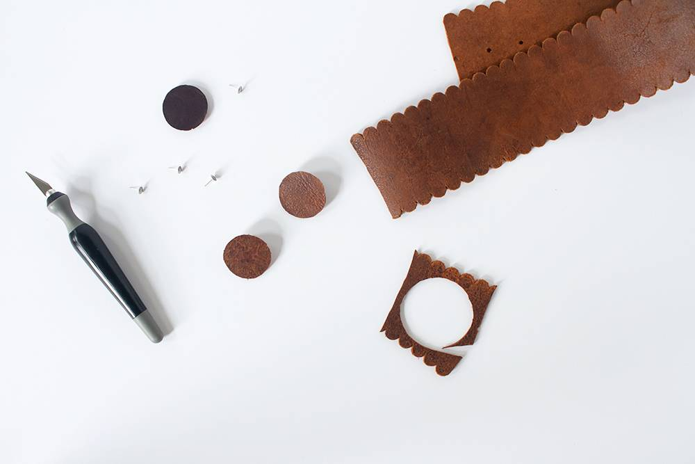 Crafting leather earrings