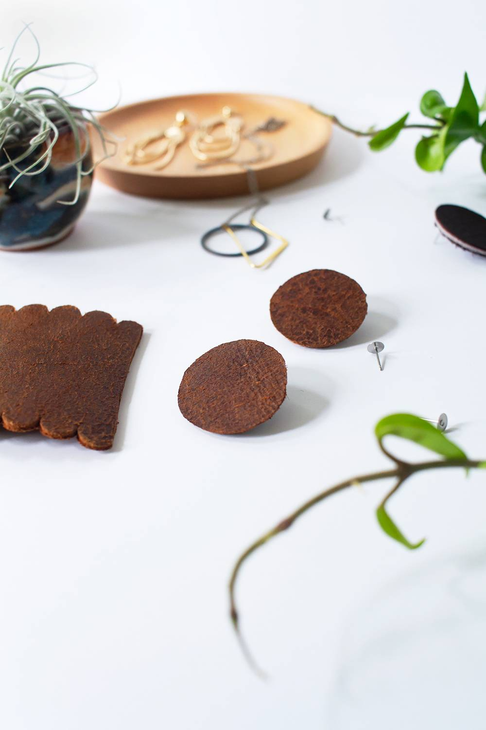 Closeup of leather earrings