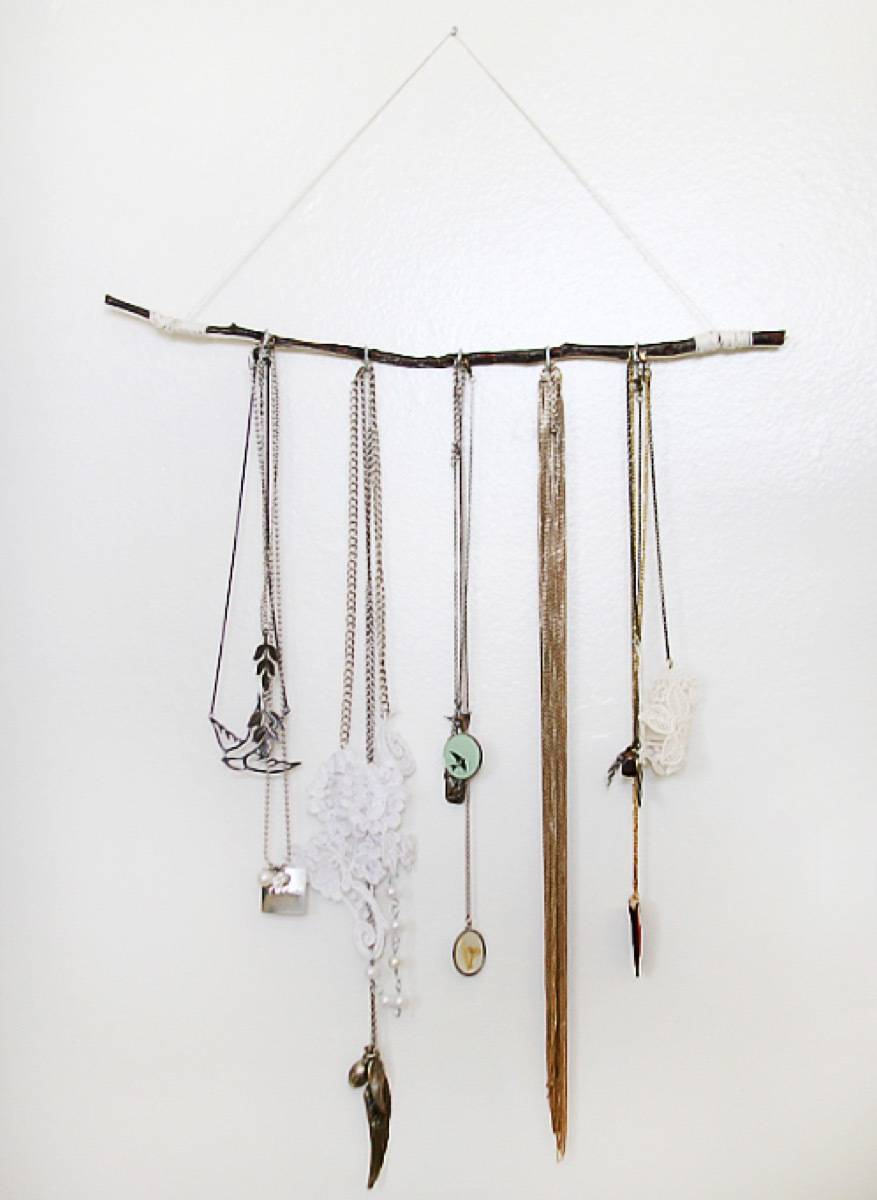 Jewelry organizer from branch