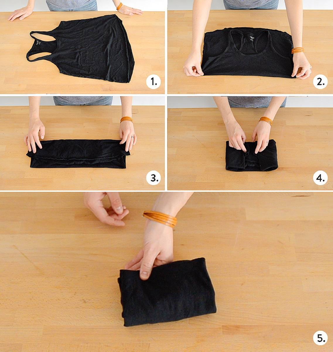How to fold a shirt with straps