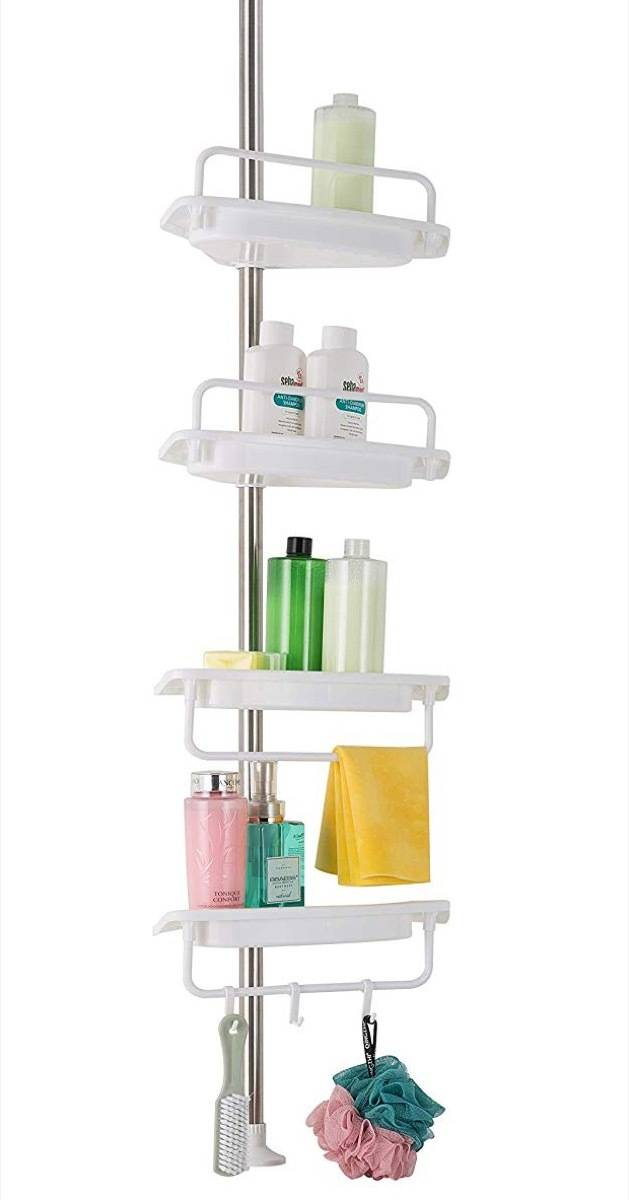 Tension rod shower caddy