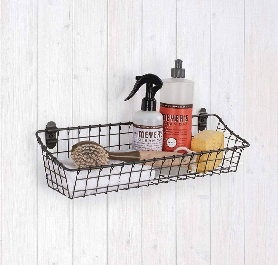 Wall-mounted wire basket