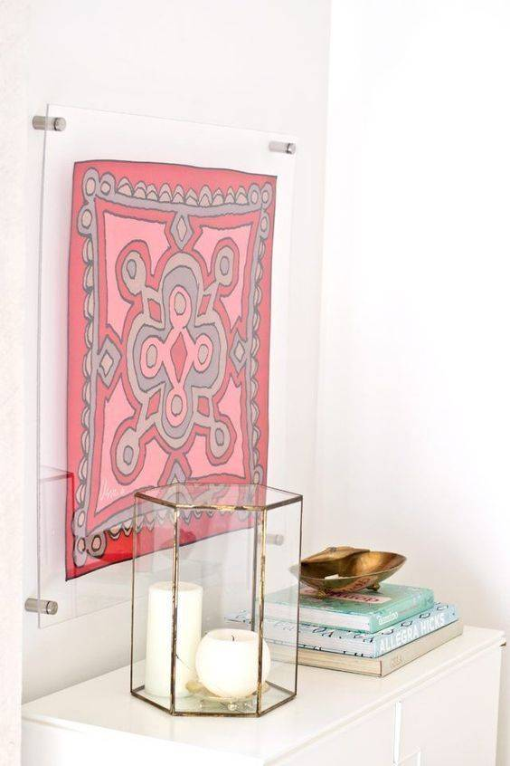 Scarf in lucite floating frame