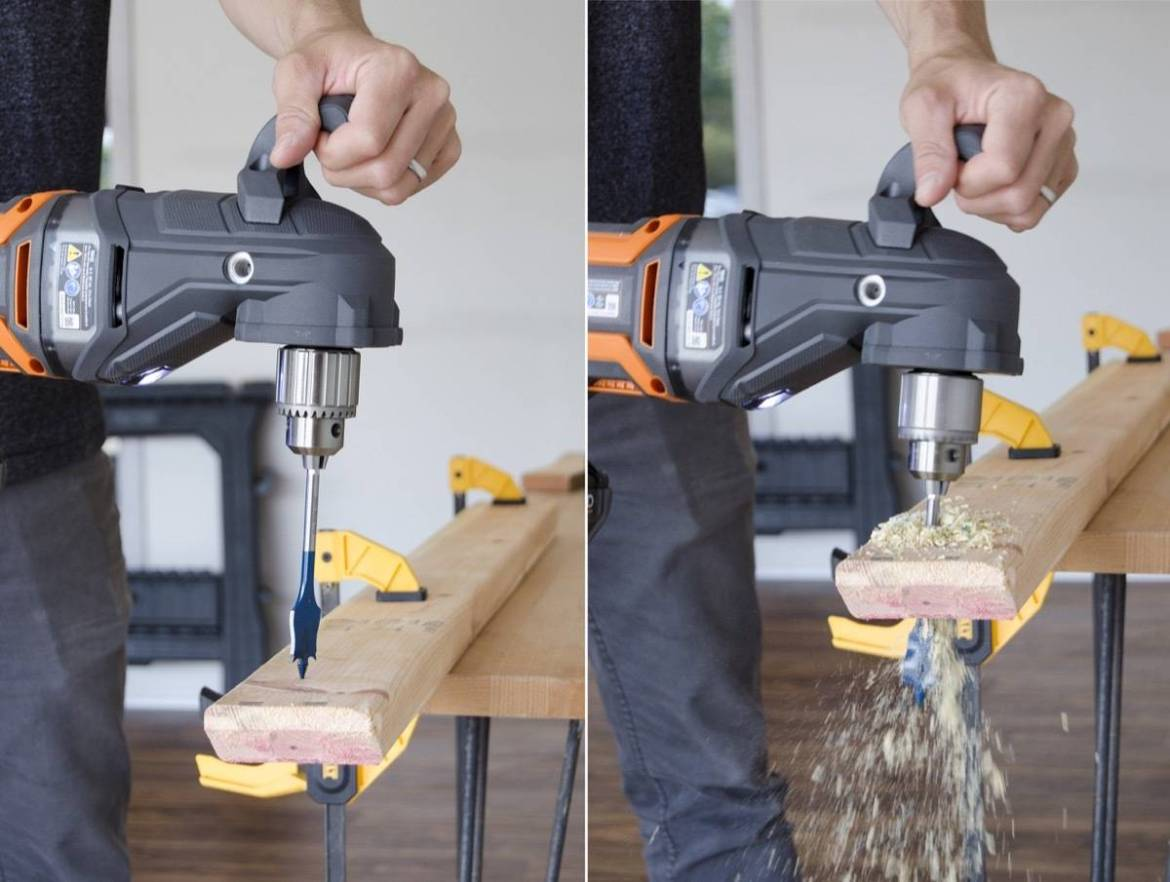 Using a spade bit to drill through wood