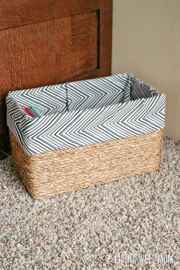 Sisal rope and fabric turn a cardboard box into attractive storage