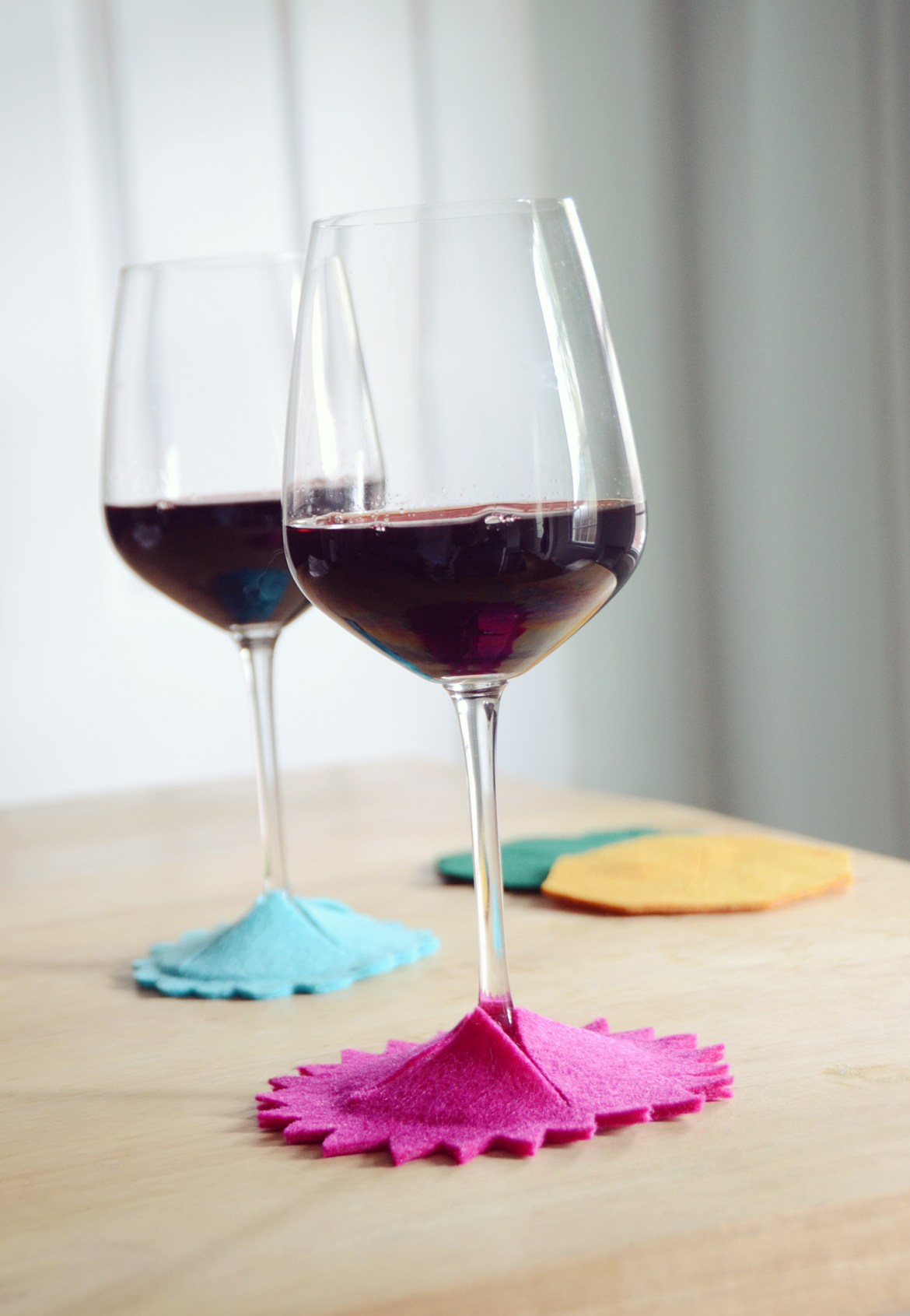 DIY No-Sew Felt Wine Glass Coasters
