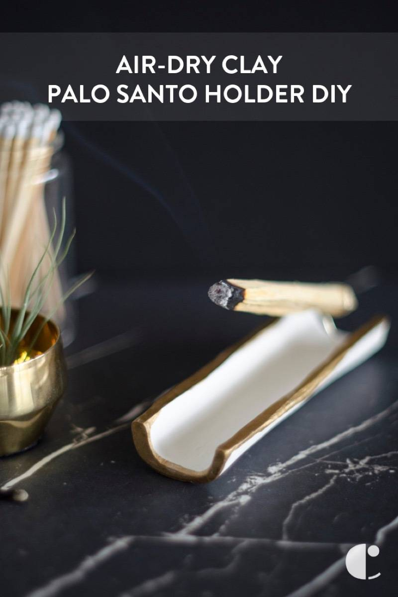 DIY palo santo holder from air-dry clay and wire