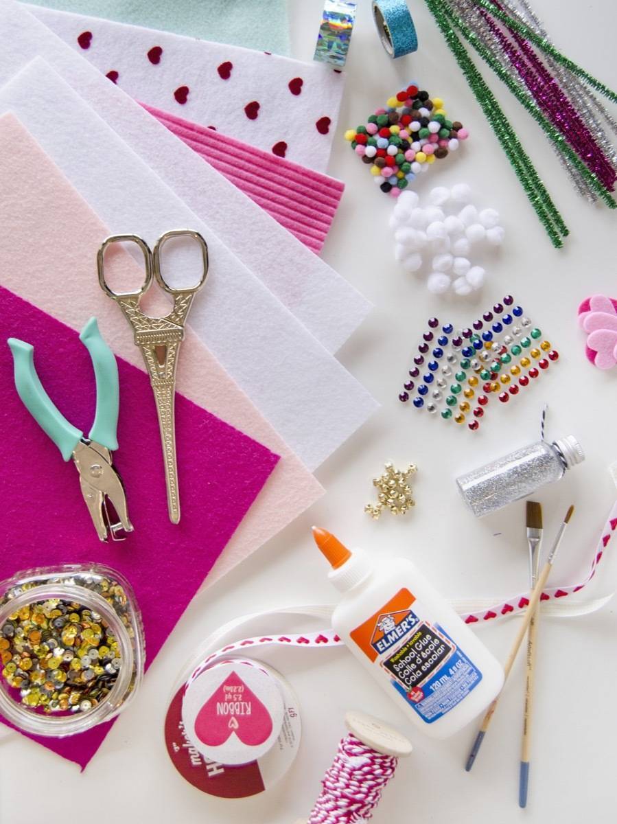 Materials needed to make ugly sweater Christmas garland