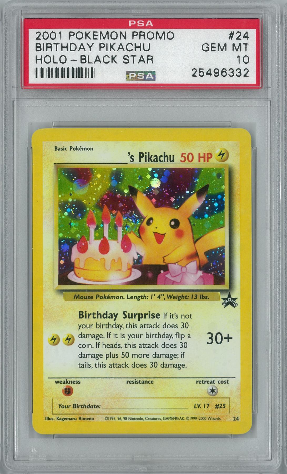 Pokemon Black Star Promo Birthday Pikachu 24 Holo Rare PSA