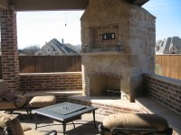 Custom Covered Patio With Outdoor Kitchen And Fireplace ...