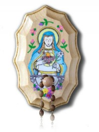 Immaculate Heart of Mary Wooden Rosary Holder ...