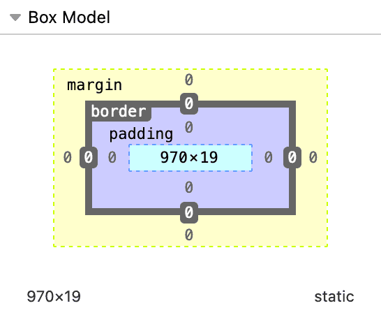 Diagram of the box model with defined boxes from the outer most to inner most as margin, border, and padding, all set to 0 with a computed width and height of 970 by 19.