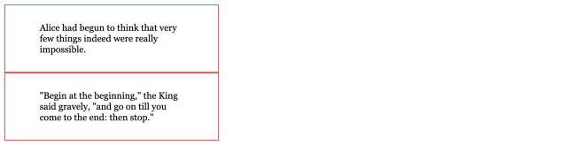 Two narrow rectangles each with text in a black serif font and a thin red border with space between the text and border.
