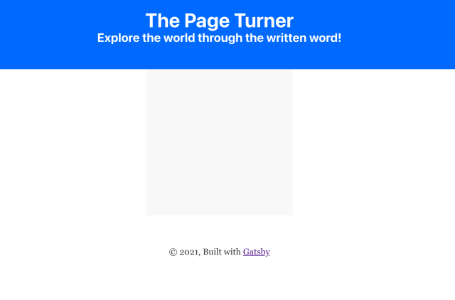 Landing page with rendered header but no content