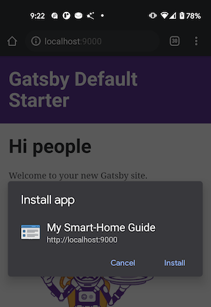 """Screenshot from an Android device, showing a """"Install app"""" modal popup in the Chrome browser, for """"My Smart-Home Guide"""", through localhost remote debugging"""