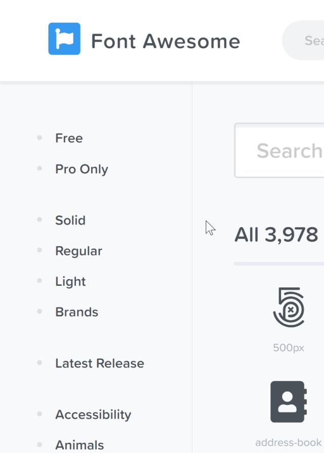 página de iconos con algunos de los nombres del paquete a la izquierda