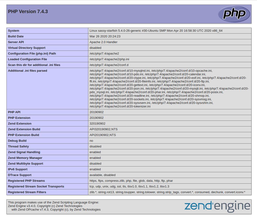 Ubuntu 20.04 o PHP info
