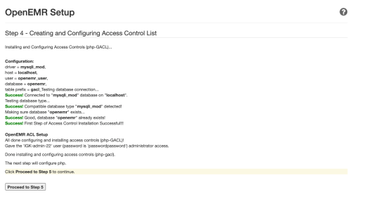 OpenEMR setup page — Step 4
