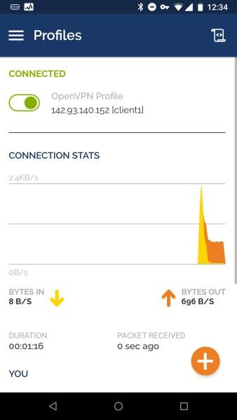 Die mit dem VPN verbundene OpenVPN-App für Android