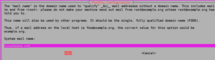 Enter your domain name, then press TAB to select <Ok>, ENTER