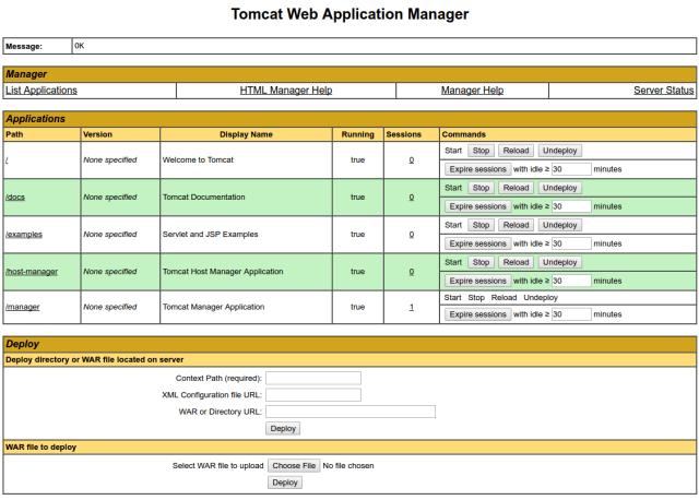 Gerenciador de aplicativos da web Tomcat