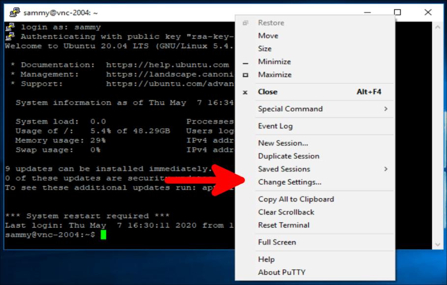 トップバーを右クリックして、Change Settings(設定の変更)オプションを表示します