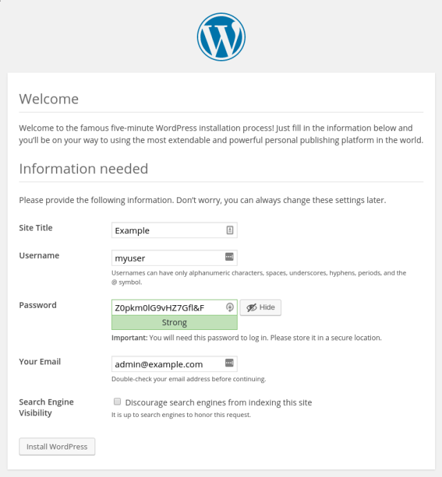 WordPress setup installation