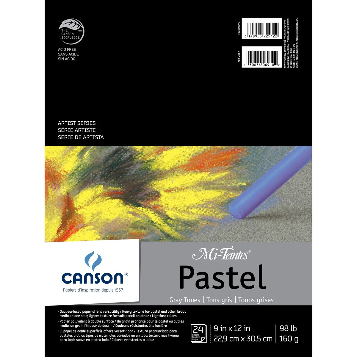 Canson Mi Teintes Pastels Paper Pad 9 X12 Gray Tones 24 Sheets