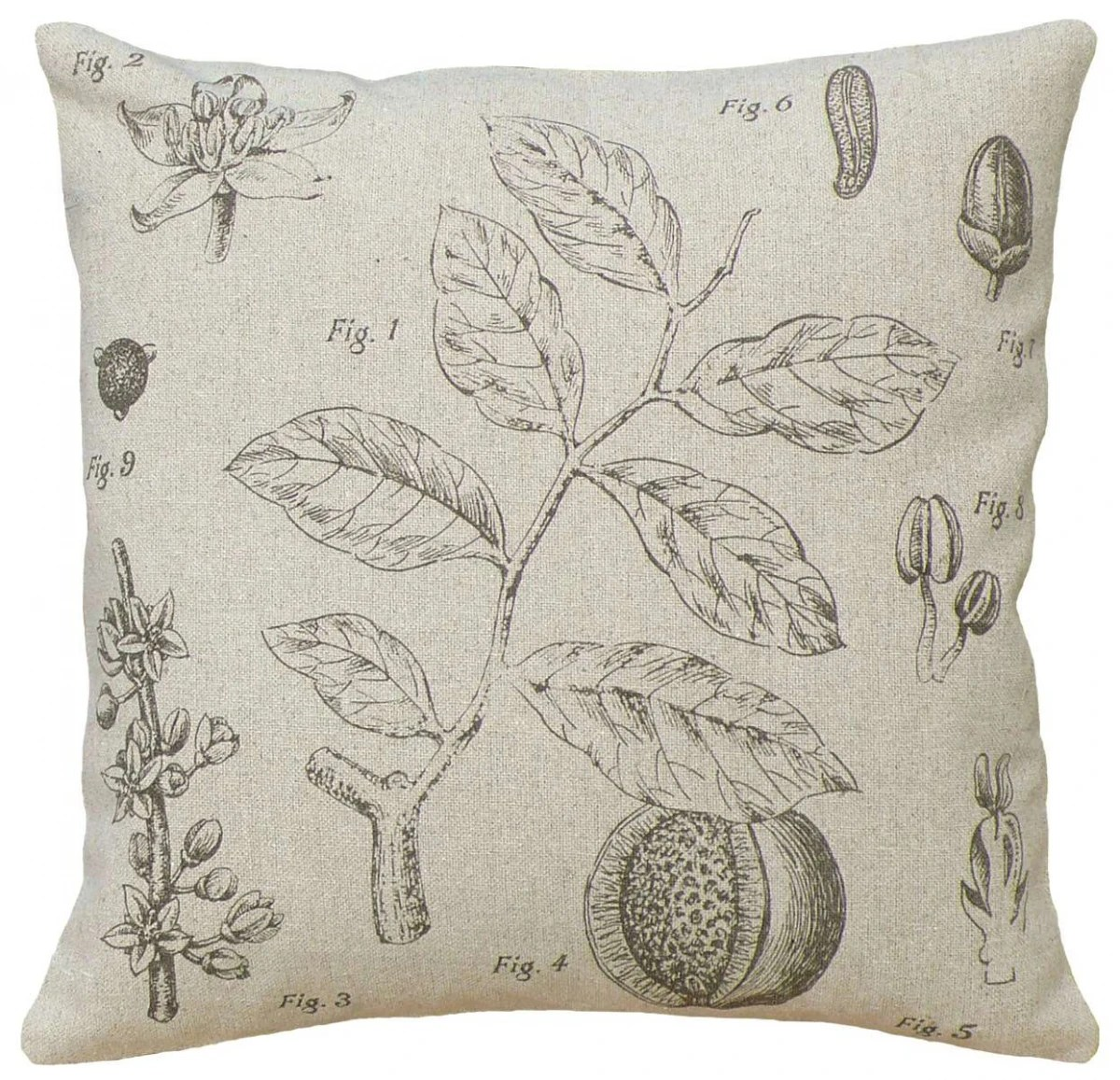 123 Creations Plant Study Linen Pillow with Feather Down