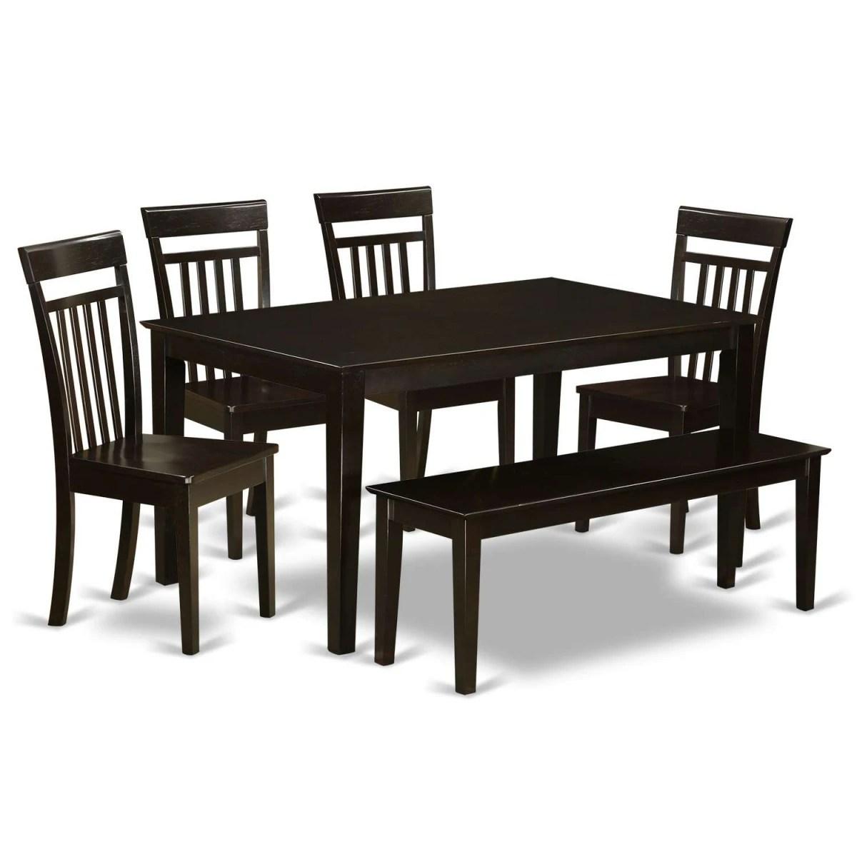 6 piece kitchen table sets walmart decor east west furniture capri with bench