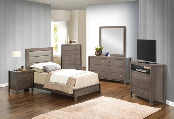 Glory Gray Twin 6-piece Bedroom Set With Padded Headboard