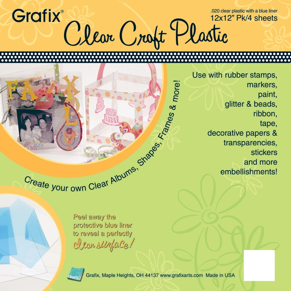 Grafix Craft Plastic Sheets 12 X12 4 Pkg Clear 020 Contains Pack Of 1