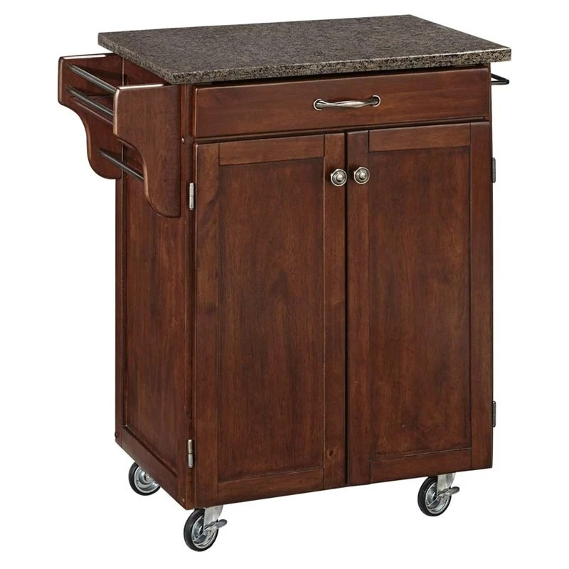 home styles kitchen cart custom made islands cuisine quartz top in rustic cherry