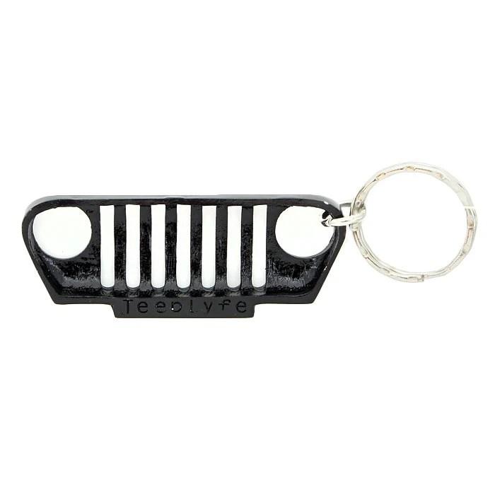 Jeep Lyfe Jeeplyfe Front Tj Grille Keychain Alloy  Black