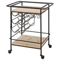 Linon Wood Top Metal Wine Bar Cart in Black