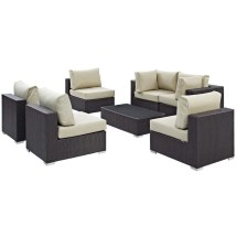 Modway Convene 7 Piece Patio Sofa Set In Espresso And Beige