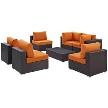 Modway Convene 7 Piece Patio Sofa Set In Espresso And Orange