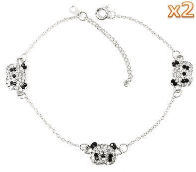 Set of 2 Panda Rhinestone Brac...